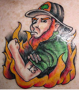 Strike the box fire fighter tattoos more for Electric voodoo tattoo