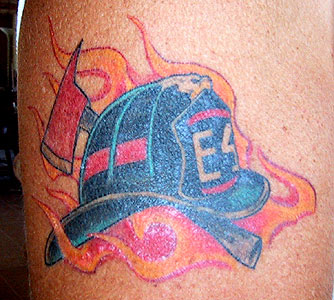 Strike the box fire fighter tattoos more for Ben corn tattoo