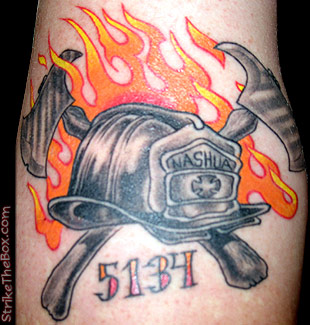 Leather helmet firefighter tattoo for Tattoo shops in nashua nh