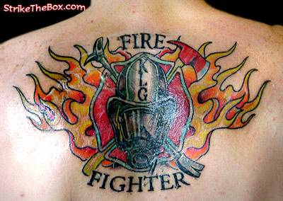 Firefighting Tattoos on Firefighter With Irons Over Maltese Cross With Scba Tattoo