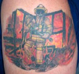 Strike the box fire fighter tattoos more for Baton rouge tattoo