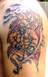 Strike the box fire fighter tattoos more for Best tattoo artist in fort worth