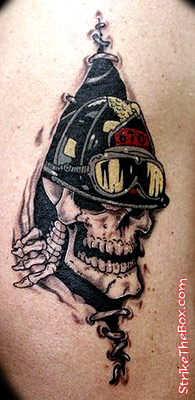 Firefighter Skull Tattoo