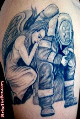 Strike the box firefighter tattoo for Inked temptations tattoo studio