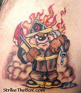 tazmanian devil firefighter tattoo. Black Bedroom Furniture Sets. Home Design Ideas