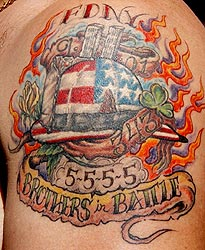 Strike the box fire fighter tattoos more for Little johns tattoo greensboro nc